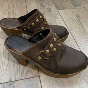 Born leather clog heel
